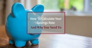 "Blue piggy bank on office desk with text overlay ""How to calculate your savings rate and why you need to"""