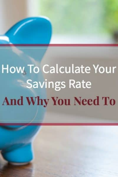"""Blue piggy bank on office desk with text overlay """"How to calculate your savings rate and why you need to"""""""