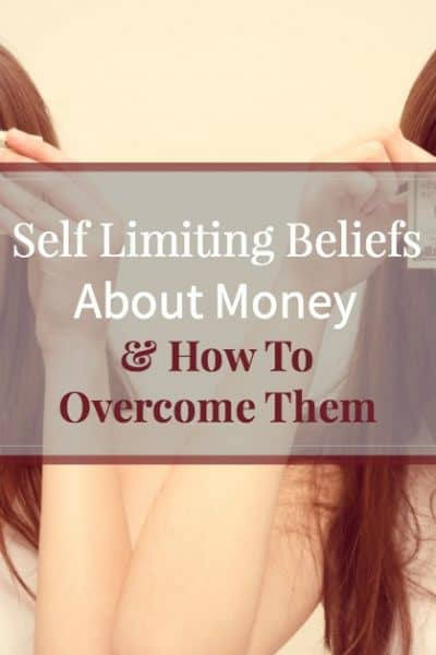 """Two young women holding $100 bills over their eyes with text overlay """"Self limiting beliefs about money - and how to overcome them"""""""