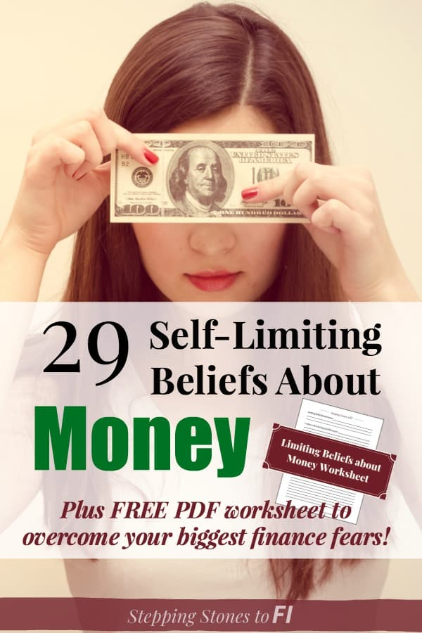 "Woman holding $100 bill over her face with text ""Self-limiting beliefs about money and how to overcome them"""