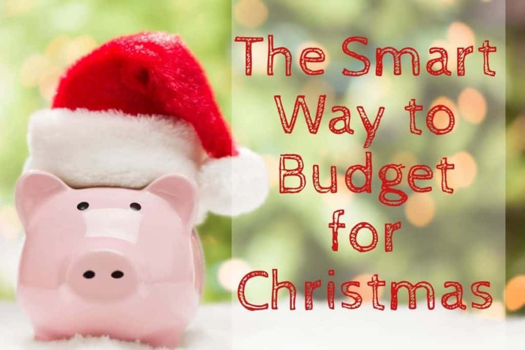 "Piggy bank with Santa hat and text ""The smart way to budget for Christmas"""