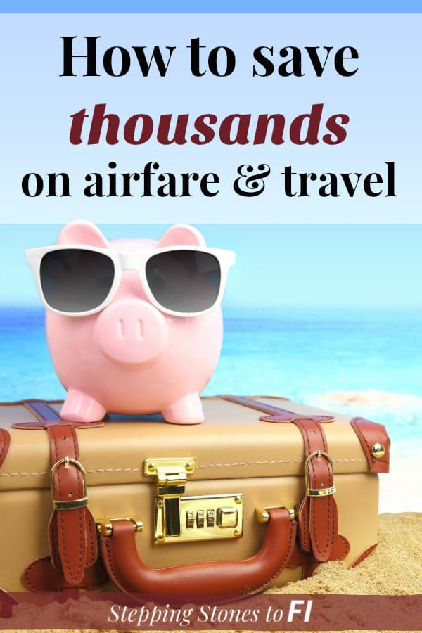 "Pink piggy bank with sunglasses sitting on travel suitcase on the beach. ""How to save thousands on airfare and travel"""