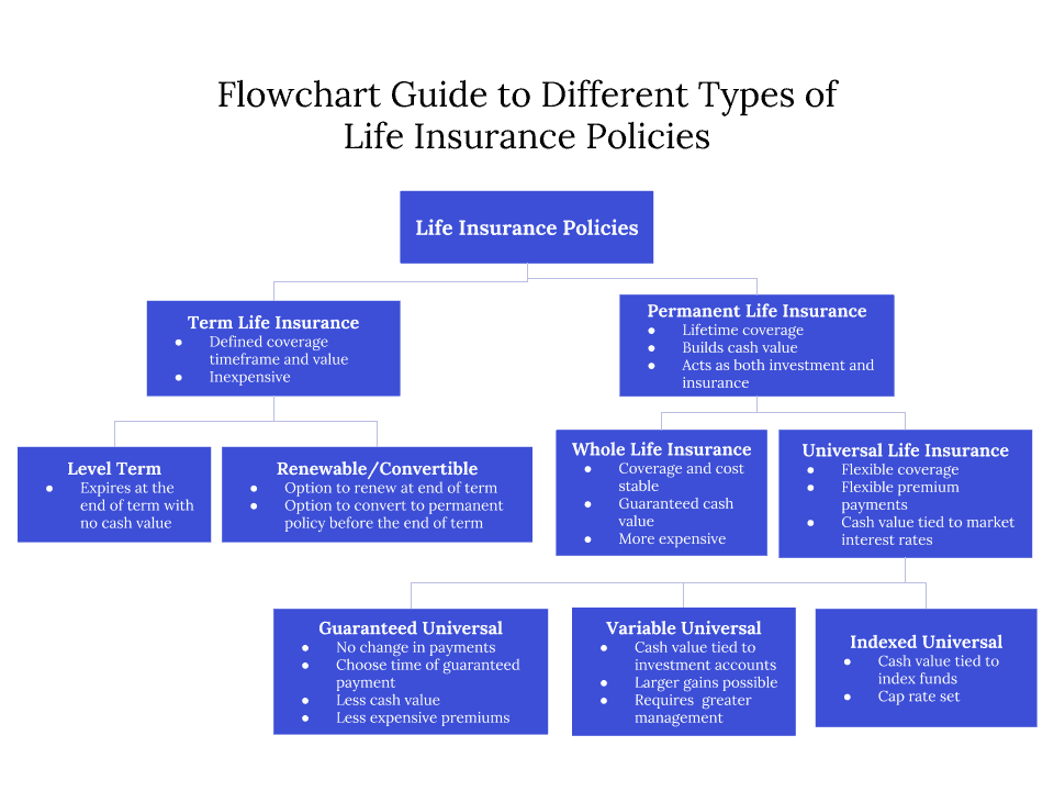 Flow chart of the different types of life insurance