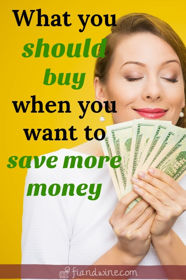 """Happy woman holding $100 bills with text caption """"what you should buy when you want to save more money"""""""